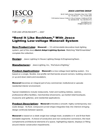 With Jesco Lighting Low-voltage