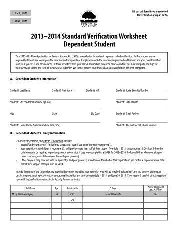 2013 14 dependent federal verification form columbia college. Black Bedroom Furniture Sets. Home Design Ideas