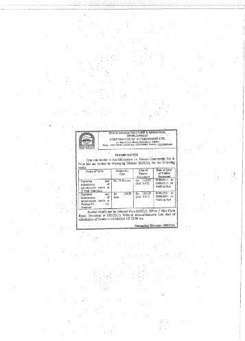 CORPORATION OF UTTARAKHAND LTD, - Sidcul