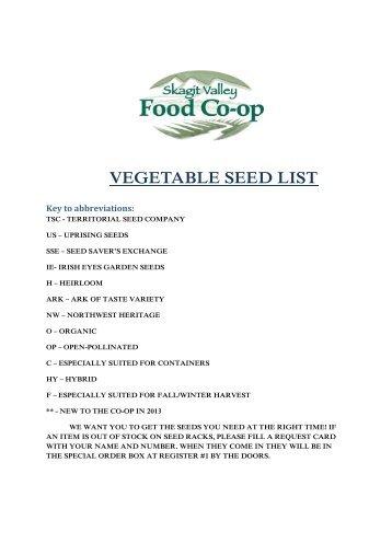 VEGETABLE seed list - Skagit Valley Food Co-op