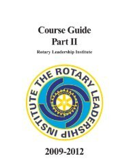 Participant Course Guide - Part II - Rotary Leadership Institute