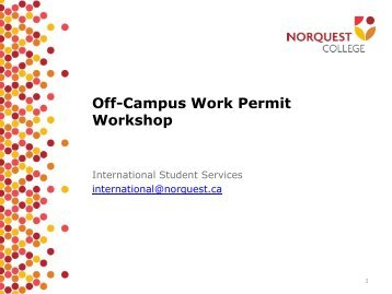 Off-Campus Work Permit Workshop - NorQuest College