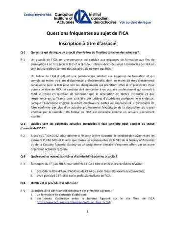 FAQ – Inscription à titre d'associé - Canadian Institute of Actuaries