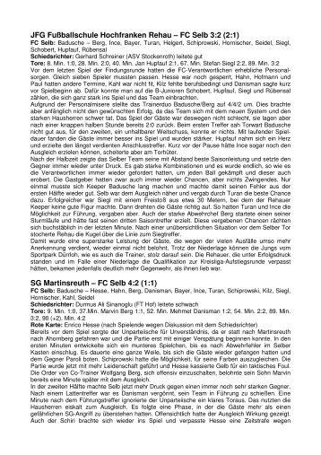 Spielberichte Findungsrunde 2012 - FC Selb