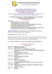 TEACHING THE HOLOCAUST 15, 16 and 17 August 2011