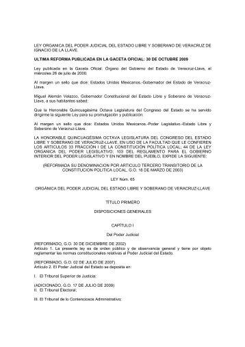 ley organica del poder judicial del estado libre y soberano de ...