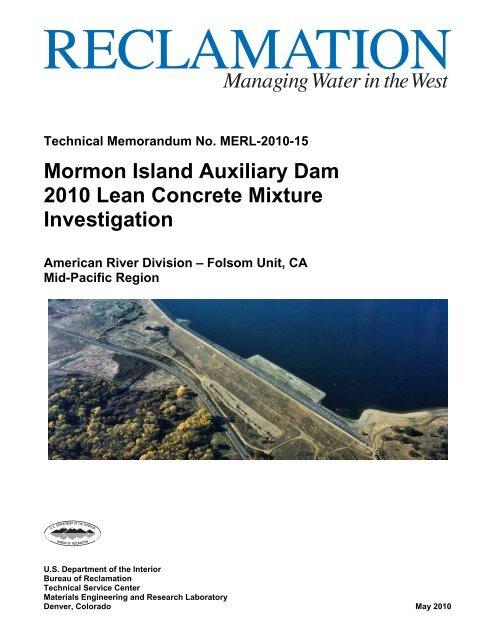Mormon Island Auxiliary Dam 2010 Lean Concrete     - IDEAS-EC
