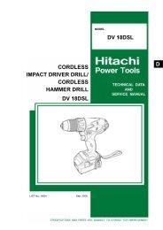 Model DV 18DSL CORDLESS IMPACT DRIVER DRILL - Hitachi