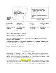 December, 2011 - Ozark Earth Science, Gem, Mineral & Fossil Club