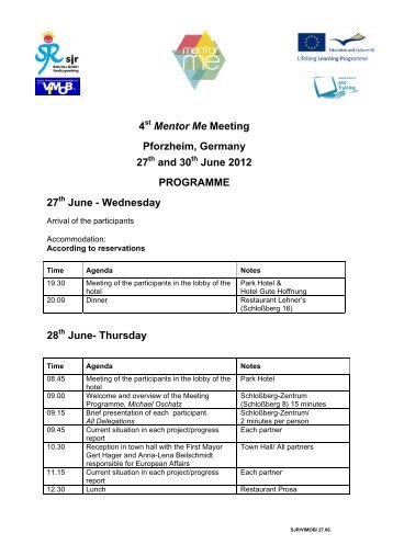 4 Mentor Me Meeting Pforzheim, Germany 27 and 30 June 2012 ...