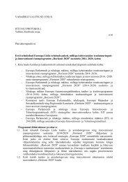 VABARIIGI VALITSUSE OTSUS ISTUNGI PROTOKOLL Tallinn ...