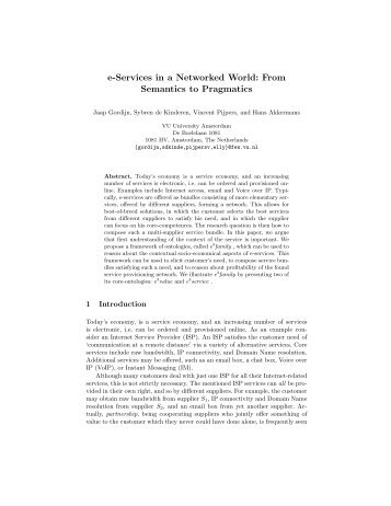 e-Services in a Networked World: From Semantics ... - ResearchGate