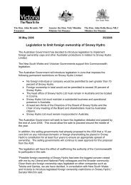 30 May 2006 – Legislation to limit foreign ownership of Snowy Hydro