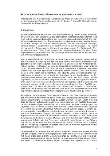 Artistic Museum Studies - Institut für Kunst im Kontext - Universität ...