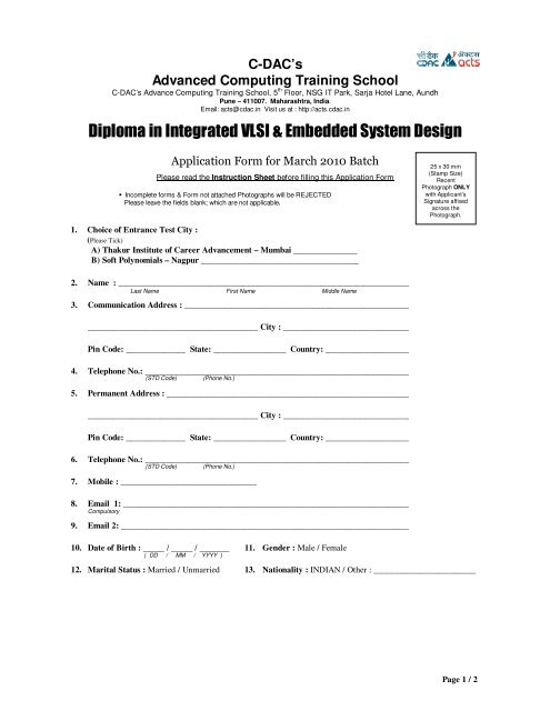 Diploma In Integrated Vlsi Embedded System Design Acts