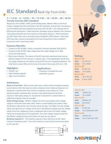 IEC StandardBack-Up Fuse-Links - Mersen