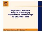 Wieloletni Plan Inwestycyjny 2006-2008 - Województwo Małopolskie