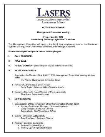 Notice and agenda management committee meeting friday management committee meeting agenda louisiana state altavistaventures Gallery