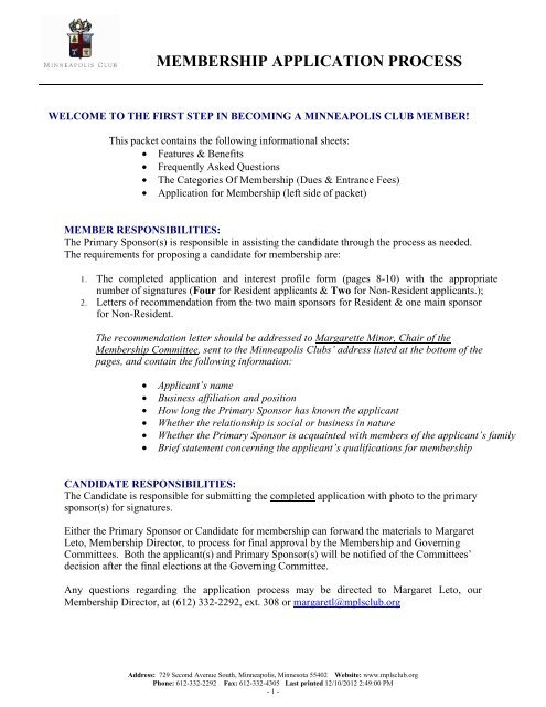 1 New Member Packet 2013 - Minneapolis Club