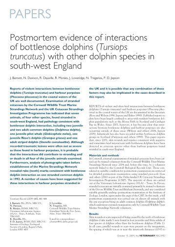 PAPERS - Cornwall Wildlife Trust Marine Strandings Network