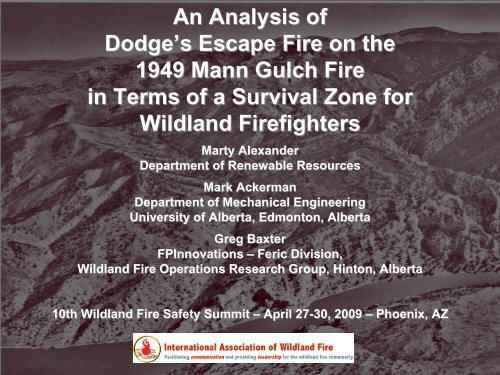 An Analysis Of Dodge S Escape Fire On The 1949 Mann Gulch Fire In