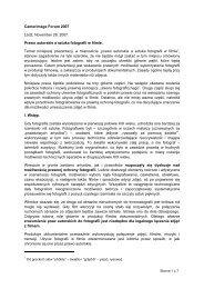 Camerimage Forum 2007 - Prawo autorskie a sztuka fotografii w ...