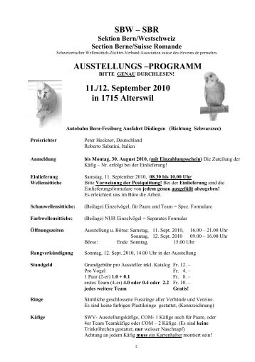 Ausstellungsprogramm Sektion Bern/ Westschweiz 2010