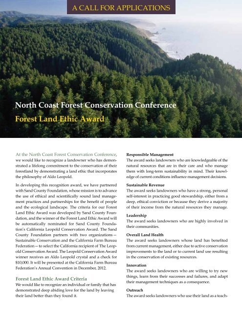 North Coast Forest Conservation Conference Forest Land Ethic Award