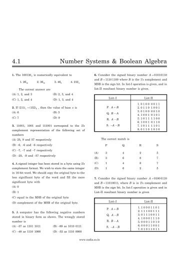 4.1 Number Systems & Boolean Algebra