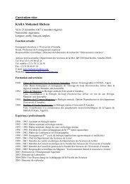 Curriculum vitae KARA Mohamed Hichem - VISB