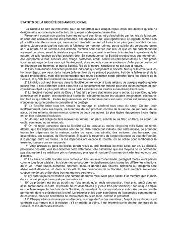 STATUTS DE LA SOCIÉTÉ DES AMIS DU CRIME. La Société se ...