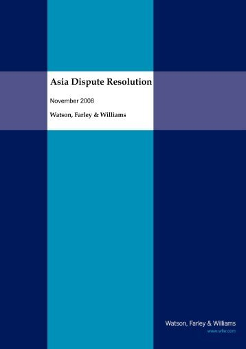 Asia Dispute Resolution - Watson, Farley & Williams
