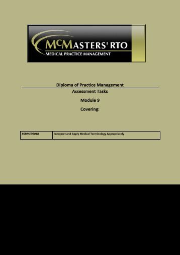 Diploma of Practice Management Assessment Tasks Module 9 ...