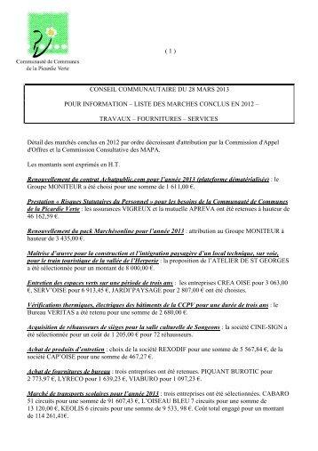 liste des marches conclus en 2012 - Communauté de Communes ...
