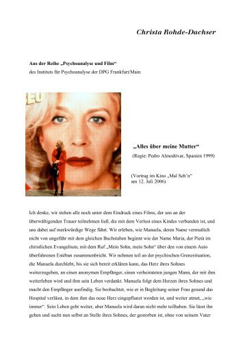 Alles über meine Mutter - Prof. Dr. Christa Rohde-Dachser
