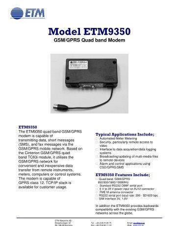 ETM9350 Data sheet - ETM Mätteknik AB