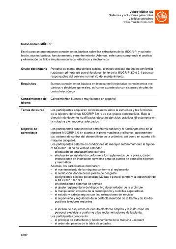 Descriptión del curso - Jakob Müller AG