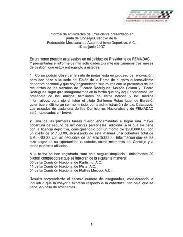 documento completo Primer Informe FMDAC - Spor Car