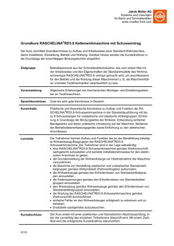 Kursbeschrieb - Jakob Müller AG