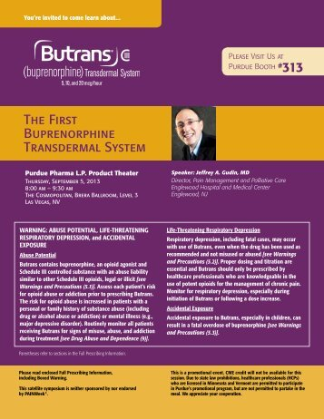 The First Buprenorphine Transdermal System - PAINWeek