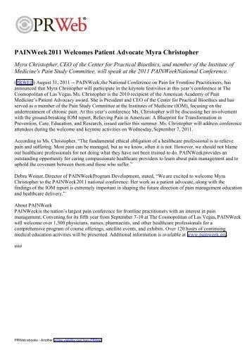 PAINWeek 2011 Welcomes Patient Advocate Myra Christopher