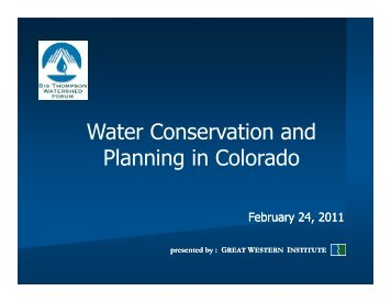 Water Conservation and Water Conservation and Planning in ...