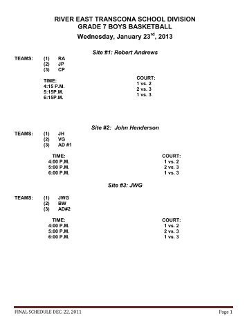Grade 7 Boys and Girls Basketball Schedule - Retsd.mb.ca