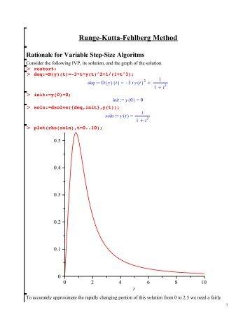 Runge-Kutta-Fehlberg Method Rationale for Variable Step-Size - CBU