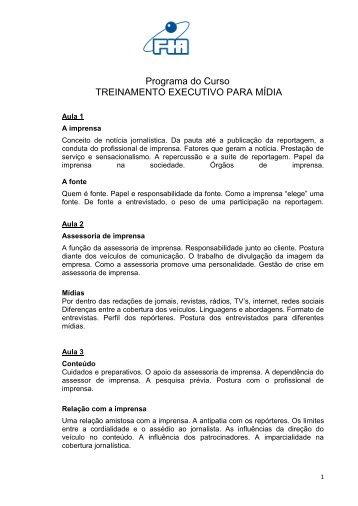 Programa do Curso TREINAMENTO EXECUTIVO PARA MÍDIA