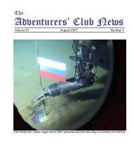 Adventurers' Club News Aug 2007 - The Adventurers