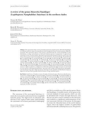 A review of the genus Manerebia Staudinger - The Journal of ...