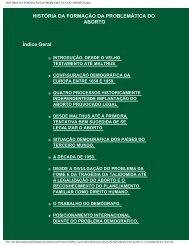 HISTÓRIA DA FORMAÇÃO DA PROBLEMÁTICA DO ABORTO:Index.