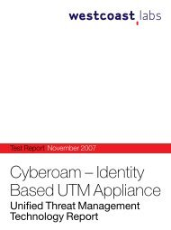 Cyberoam – Identity Based UTM Appliance - West Coast Labs