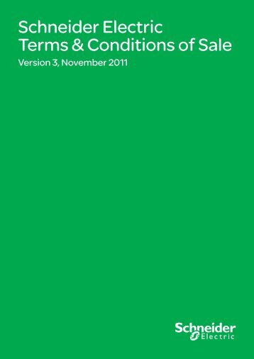 Schneider Electric Terms & Conditions of Sale - PDL
